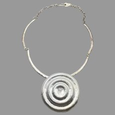 Modern Necklace, Silver, Mod Choker, Vintage Necklace, 1980s, 80s, Contemporary, Vintage Jewelry, Minimalist