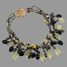 Quartz Necklace, Multi-Strand, Vintage Necklace, Smoky Quartz, Brown, Yellow Quartz, Big Statement, Boho Bohemian, Unique, Shell Flower, Big