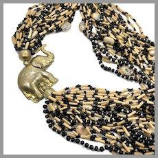 Elephant Necklace, Boho Necklace, Big, Massive, Multi-Strand, Vintage Necklace, Black Glass, Wood, Oversized, Huge, Statement