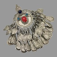 Afghan Pendant, Middle Eastern, Massive, Vintage Pendant, Pakistan, Big, Large, Silver, Red, Blue, Turquoise, Nomadic, Kuchi, Gypsy