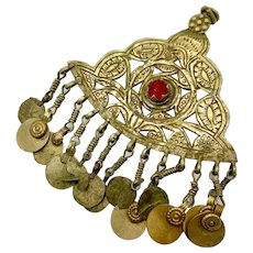 Kuchi Pendant, Afghan, Middle Eastern, Vintage Pendant, Dangles, Medallion, Red Glass, Silver Metal, Big Pendant