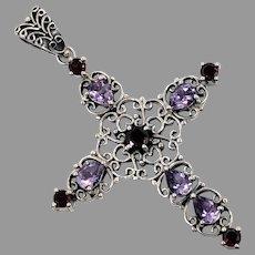 Amethyst Cross, Garnet, Sterling Silver, Vintage Pendant, Doug Paulus, DP, Designer, Large, Mixed Stones, Gemstones