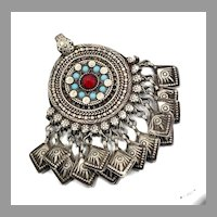 Ethnic Pendant, Old Silver, Vintage Pendant, Middle Eastern, Afghan, Pakistan, Big, Large, Jeweled, Balochi Tribe, Nomadic, Kuchi, Gypsy