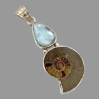 Ammonite Pendant, Larimar, Sterling Silver, Fossil, Big Statement, Stones, Large, Fossilized, Blue Stone