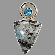 Aztec Lapis Pendant, Sterling Silver, Designer, Charles Albert, .950, Vintage Pendant, Blue Pendant, Large, Big