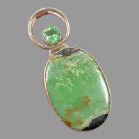 "Green Jasper Pendant, Sterling Silver, Designer, Charles Albert, Fine Silver, 3"" Long, .950, Vintage Pendant, Large, Big"