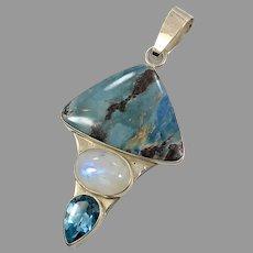 Aztec Lapis Pendant, Moonstone, Blue Topaz, Sterling Silver, Designer, Charles Albert, .950, Vintage Pendant, Large, Big