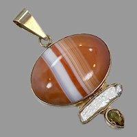 Banded Agate Pendant, Citrine, Pearl, Sterling Silver, Designer, Charles Albert, .950, Peach, Orange, Vintage Pendant, Large, Big
