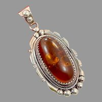"Amber Pendant, Huge,Sterling Silver, Vintage Pendant, 3"" Long, Native American, Navajo, Baltic Amber, Big, Huge"