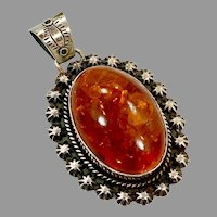 "Amber Pendant, Huge, Sterling Silver, Vintage Pendant, 3"" Long, Native American, Navajo, Baltic Amber, Big, Huge"