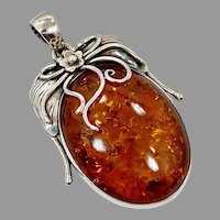 Amber Pendant, Sterling Silver, Native American, Navajo, Vintage Pendant, Feather, Long, Baltic Amber, Big, Huge
