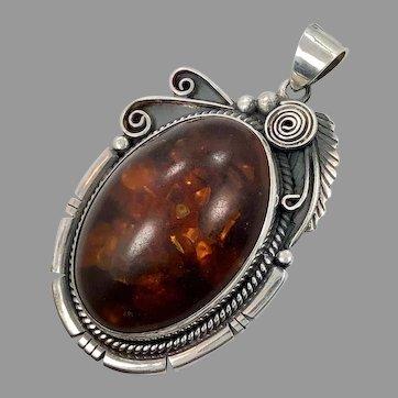 """Amber Pendant, Huge, Sterling Silver, Vintage Pendant, 2 3/4"""" Long, Native American, Navajo, Signed, Baltic Amber, Big, Huge"""