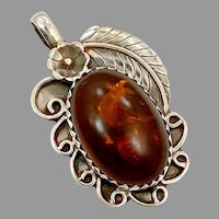 "Amber Pendant, Sterling Silver, Native American, Navajo, Vintage Pendant, Feather, 2"" Long, Signed, Baltic Amber, Big"