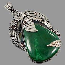 Malachite Pendant, Native American, Sterling Silver, Green Stone, Large, Vintage Pendant, Massive, Feathers