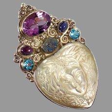 Goddess Pendant, Blue Topaz, Amethyst, Sterling Silver, Iolite, Sajen, Vintage Pendant, Druzy, Designer, Carved Shell, Mother of Pearl, Pin