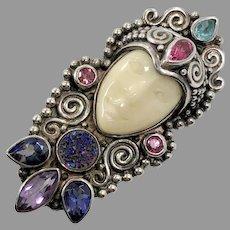 Goddess Pendant, Blue Druzy, Amethyst, Iolite, Tourmaline, Blue Topaz, Sterling Silver, Sajen, Vintage Pendant, Bali, Carved Face, Designer