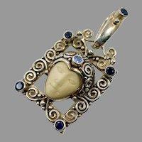 Goddess Pendant, Iolite, Tanzanite Sterling Silver, Sajen, Vintage Pendant, Bali, Carved Bone Face, Queen