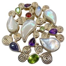 Gemstone Pendant, Sterling Silver, Vintage Sajen, Designer, MOP, Iolite, Amethyst, Moonstone, Garnet, Peridot. Convertible Pin