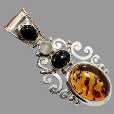 Amber Pendant, Black Onyx, White Moonstone, Vintage, Sterling Silver, Designer, Suarti, BA, Indonesia, Multi Mixed Stones, Big Statement