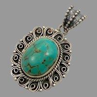 Turquoise Pendant, Sterling Silver, Tibetan Pendant, Vintage Pendant, Nepal, Tibet