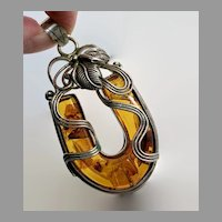 Amber Pendant, Sterling Silver, Lucky Horseshoe, Vintage Pendant, Native American, Navajo, Carved, Large, Honey Amber, Big Statement, Boho