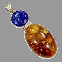 Amber Pendant, Lapis Pendant, Sterling Silver, Vintage Pendant, Honey Amber, Lapis Lazuli, Blue, Large, Big, Huge