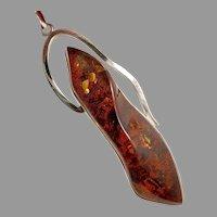 "Amber Pendant, Huge, Sterling Silver, Vintage Pendant, 3 3/4"""" Long, Contemporary, Carved Amber, Baltic Amber, Big, Huge"