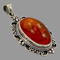 "Amber Pendant, Big, Sterling Silver, Vintage Pendant, 2 1/4"" Long, Baltic Amber, Polish Amber, Huge"
