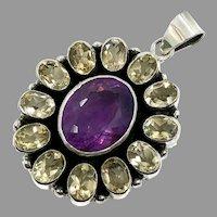 Amethyst Pendant, Citrine, Sterling Silver, Vintage Pendant, Multi-Stone, Big, Large, Purple Stone