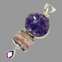 "Amethyst Pendant, Sterling Silver, Druzy, Vintage Pendant, 3"" Long, Arya, Designer, Drusy, Big,Crystal Cluster, Purple, Large"