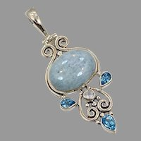 AqAquamarine Pendant, Moonstone, Blue Topaz, Sterling Silver, Vintage Pedant, Aryo, Multi Gemstone, Mixed Stones, Blue Pendant, Big, Long