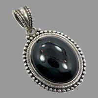 Black Onyx Pendant, Vintage Pendant, Sterling Silver, Big Pendant, Large Stone, Boho Statement, Oval, Ethnic