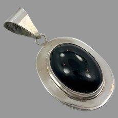 Black Onyx Pendant, Sterling Silver, Vintage Pendant, Onyx Pendant, Mexico, Taxco, Black Pendant, Oval, Big