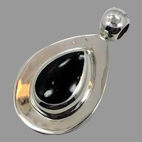 Black Onyx Pendant, Sterling Silver, Vintage Pendant, Mexico, Modern, Contemporary, Big Stone, Black Stone