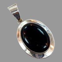 Black Onyx Pendant, Vintage Pendant, Sterling Silver, Big Pendant, Black Pendant, Large Stone