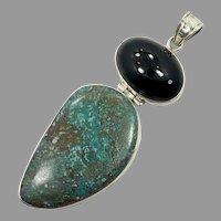Turquoise Chrysocolla Pendant, Black Onyx, Vintage Pendant, Sterling Silver, Multi Stones, Long, Big, Huge