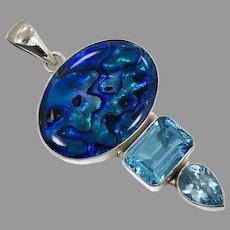 Blue Topaz Pendant, Shell, Sterling Silver, Designer, Charles Albert, .950, Vintage Pendant, Blue Pendant, Large, Big