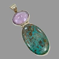 Turquoise Chrysocolla Pendant, Amethyst, Vintage Pendant, Sterling Silver, Multi Stones, Purple, Long, Big, Huge