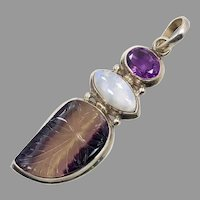 Flourite Pendant, Moonstone, Amethyst, Sterling Silver, Carved Stone, Vintage Pendant, Blue, Purple, Big Stones, Sterling Pendant, Unique