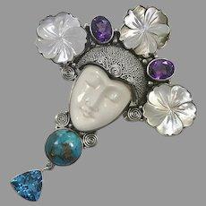 Goddess Pendant, Turquoise, Amethyst, Topaz, MOP, Sterling Silver, Vintage Pendant, Bali, Carved Bone, Shell, Large, Big