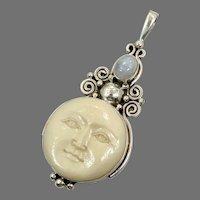Goddess Pendant, Full Moon, Moonstone, Sterling Silver, Man-in-the-Moon, Vintage Pendant, Big, Carved Bone