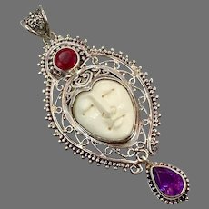 Goddess Pendant, Ruby, Amethyst, Sterling Silver, Vintage Pendant, Bali, Carved Bone Face, Queen