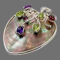 Tourmaline Pendant, Sterling Silver, Heart Pendant, Amethyst, Peridot, Garnet, Vintage Pendant, Seashell, Abalone Shell, Big, Statement