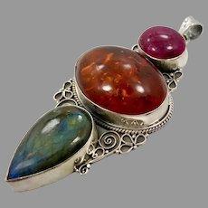 "Labradorite Pendant, Amber, Quartz, Sterling Silver, Vintage Pendant, Huge, 4"" Long, Massive, Ethnic, Tribal"