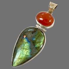 Labradorite Pendant, Carnelian, Sterling Silver, Big Stone, Vintage Pendant, Gold Green, Sterling Pendant