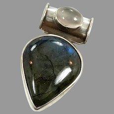 Labradorite Pendant, Gray Moonstone, Sterling Silver, Vintage Pendant, Boho Bohemian, Mixed Stones, Multi Gemstones