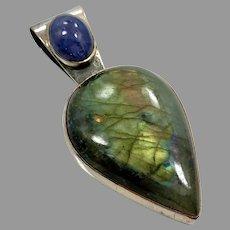 Labradorite Pendant, Blue Kyanite, Vintage Pendant, Sterling Silver, Long, Big