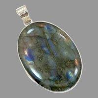 Labradorite Pendant, Sterling Silver, Vintage Pendant, Big Stone, Massive, Huge, Big