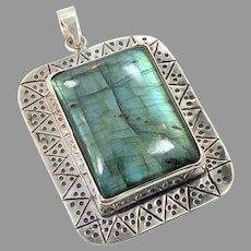 Labradorite Pendant, Sterling Silver, Big Stone, Vintage Pendant, Sterling Pendant, Huge, Big, Ethnic Style