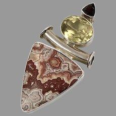 Crazy Lace Agate Pendant, Citrine, Garnet, Sterling Silver, Designer, Charles Albert, .950, Vintage Pendant, Large, Big